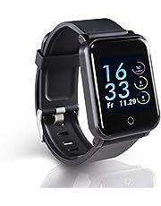 Hama Fitnessarmband, waterdicht met GPS, hartslagmeter, 22 sporten (fitnesshorloge met calorieënteller, stappenteller, slaapmonitor, fitnesstracker met app, vibratie, drinkherinnering) zwart