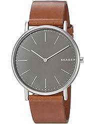 Skagen Mens Signatur Slim Quartz Titanium and Leather Casual Watch, Color:Brown (Model: SKW6429)