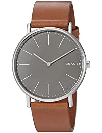 Men's 'Signatur Slim' Quartz Titanium and Leather Casual Watch, Color:Brown (Model: SKW6429)