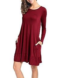 Womens Plain Long Sleeve Pockets Ruffles Loose Swing Casual T Shirt Dress