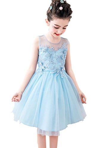 206492efa427e  eones ドレス 子供 フォーマルドレス 子供服 ワンピース 花刺繍 パステルブルー 後ろリボン