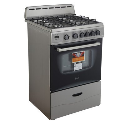 ": AVANTI GR2416CSS Gas Range Sealed Burners, 24"", Black"