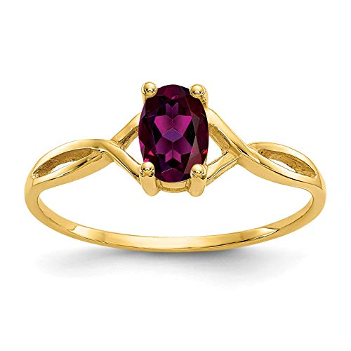 14K Yellow Gold Polished Rhodalite Garnet June Stone Ring Size 7 ()