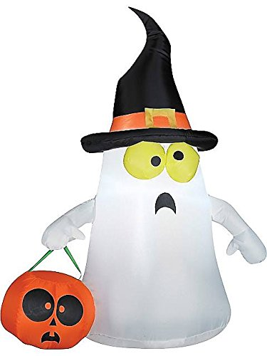 [Gemmy Outdoor Ghost with Witch Hat, White, Standard] (Empty Nester Costume)