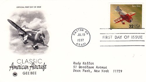 1997 U.S. 32c Stamp #CM1905 Classic American Aircraft/Gee Bee, on First Day Cover, Postmarked Dayton OH Jul 19, 1997