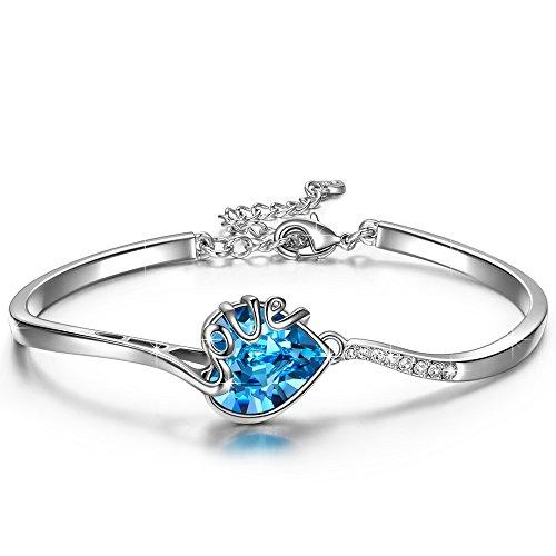 - QIANSE Prisoner of Love Heart Bracelets for Women Blue Swarovski Crystals Jewelry for Women Bangle Christmas Bracelet Gifts for Women Girls Girlfriend Wife Birthday Anniversary Jewelry Gifts for Her