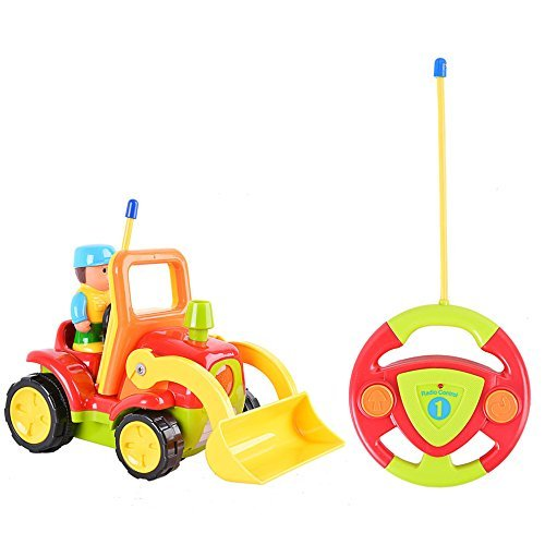 FunsLane Cartoon R/C Construction Truck 2CH Radio Control Toy for Toddlers Red