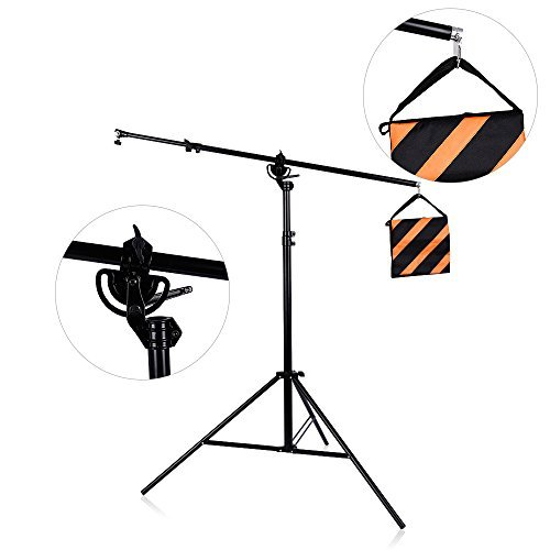 9feet/110inch/280cm Two Way Rotatable Aluminum Adjustable Tripod Boom Light Stand with Sandbag for Studio Photography Video by TRUMAGINE