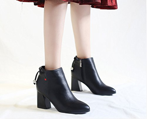 XZ Autumn and Winter England Retro High Heels Fashion Pendulum Drill Side Zipper Female Boots Black cERy83nP