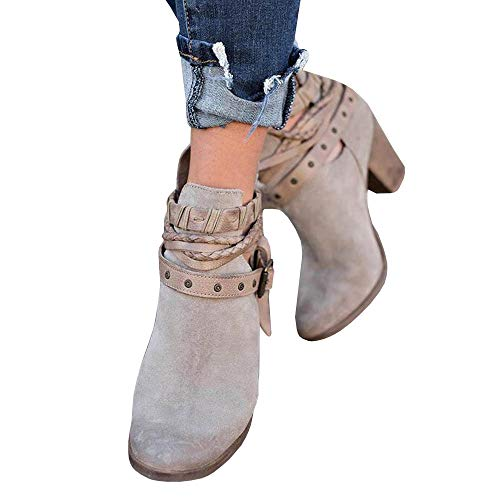 Cut Booties Buckle Zipper Boho Bbalizko Boots Back Grey Heel Womens Vintage Out Ankle Chunky IqztgwSt
