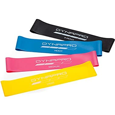 DYNAPRO Resistance Bands- Mini Precision Loop Exercise Bands (Pink-Yellow-Blue-Black) Perfect for any Home Fitness Training Program