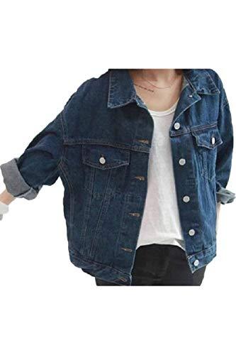 BOLAWOO Femme lgant Jean Vestes Printemps Automne Manches Longues Revers Mode Chic Large avec Blouson Jeans Boucle Mtallique Jeune Fille Bleu Outwear Blau