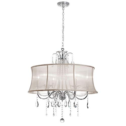 Oyster Organza Shade - Dainolite 615-270C-PC-117 Six Light Chandelier, Polished Chrome Finish with Oyster Organza Shade with Clear/Optical K-9 Crystal