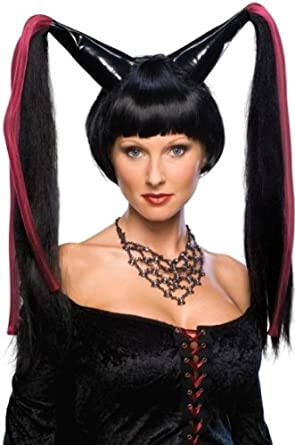 41124ce6109a Amazon.com  Halloween Costume Big Black Pointy Pigtails Madonna Wig Adult  Standard  Clothing