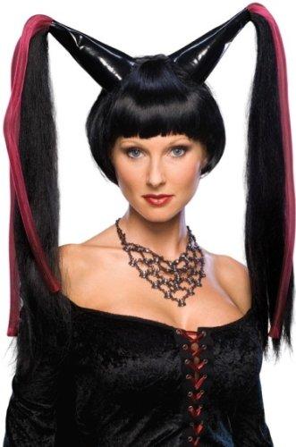Halloween Costume Big Black Pointy Pigtails Madonna Wig Adult Standard -