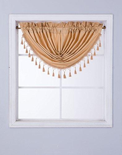 GorgeousHomeLinen (RS8) 1 Short Decorative Rod Pocket Foam Lined Blackout Silk Swag Waterfall Window Curtain Valance for Kitchen, Living Room, Bedroom, Nursery, Basement & Bathroom (Valance Silk Curtain)