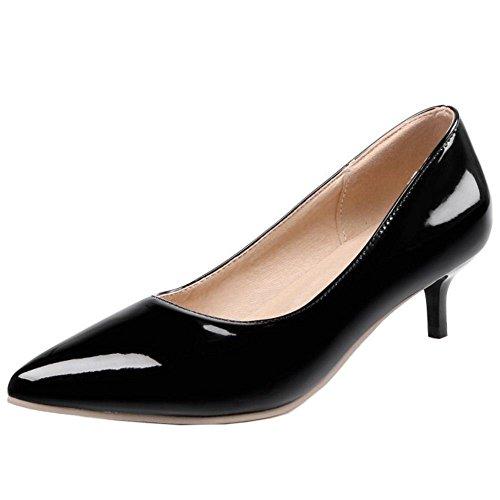 COOLCEPT Zapatos Mujer Moda Sexy Mini Tacon Bombas Zapatos for Fiesta Boda Vestir Negro