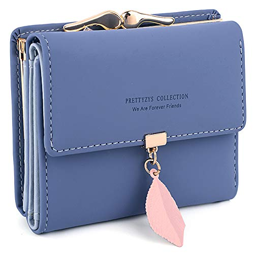 UTO Small Wallet for Women PU Leather Leaf Pendant Card Holder Organizer Girls Coin Purse A Navy Blue