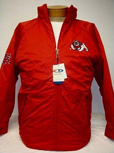 メンズレッドFresno State University zipUp刺繍PlushジャケットサイズM B077QZTKYM