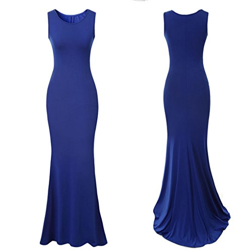 M-Egal Women Elegant Long Evening Dresses Sleeveless Wedding Party Dress Formal Dress Blue XL