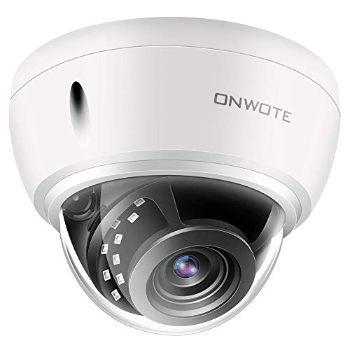 【4X Optical Zoom Autofocus】 ONWOTE 5MP IP POE Security Camera Outdoor Dome with Audio Onvif, 5 Megapixel 2592x 1944P Super HD Vandalproof Camera, 100ft Night Vision, IP66, 23-115° Viewing Angle -
