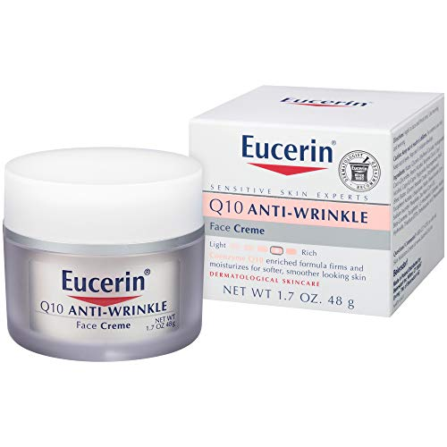 Eucerin Q10 Anti-Wrinkle Face Cream - Fragrance Free, Moisturizes for Softer Smoother Skin - 1.7 oz. Jar (Best Moisturizer For Face Dry Sensitive Skin)