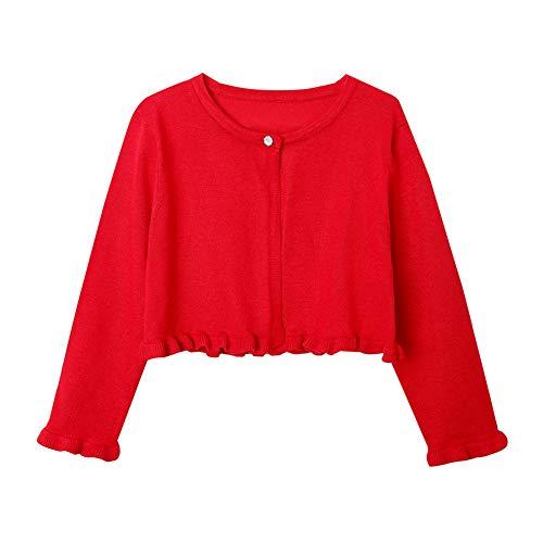 ZHUANNIAN Girls Knit Cardigan Shrug Ruffle Cropped Sweater Dressy Bolero Jacket (red, 4-5t)