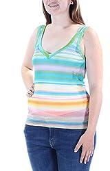 Missoni 690 Womens New 1771 Green Striped V Neck Sleeveless Casual Top 6 B B