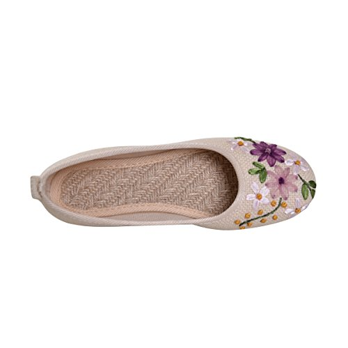 Dear Time Women Ballet Flats Floral Embroidered Platform Slip On Casual Driving Loafers White Dmn0EAfaYZ