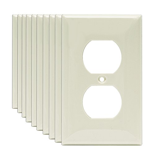 [Enerlites 8821-W 1-Gang Duplex Outlet Wall Plate, Standard Size, Unbreakable Polycarbonate, Light Almond - 10 Pack] (Oversize Light Switchplates)