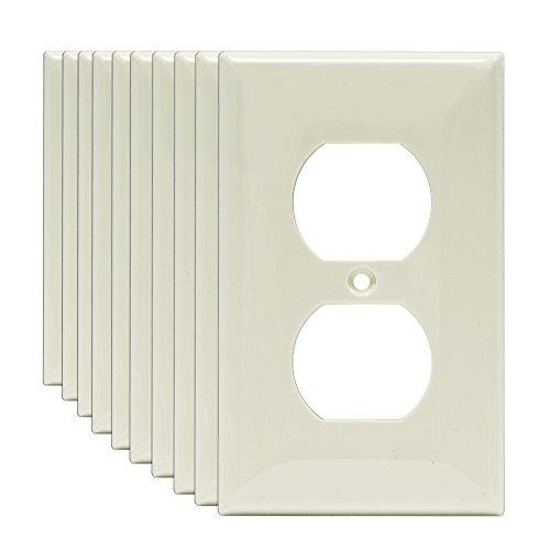 Plugs Plastic Almond (Enerlites 8821-LA-10PCS 1-Gang Duplex Outlet Wall Plate, Standard Size, Unbreakable Polycarbonate, Light Almond (10 Pack))