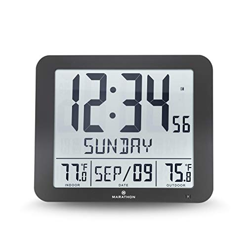 Marathon CL030027-FD-BK Slim Atomic Wall Clock with Full Calendar and Large Display and Indoor/Outdoor Temperature (New Full Display, Color: Black) For Sale