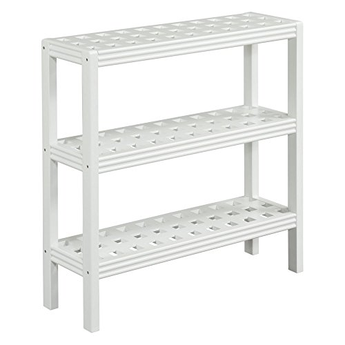 Birch Shoe Rack - New Ridge Home Goods Beaumont Solid Birch Wood 3-shelf Console, Small, White