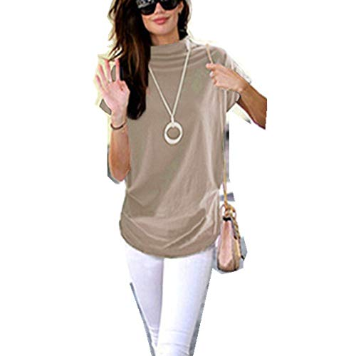 Adeliber Women's high Collar Casual Short-Sleeved Cotton Solid Color Shirt T-Shirt Tops Large Size Khaki