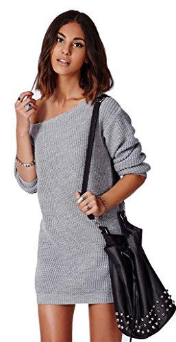 low priced 81a82 bf374 Mikos Damen Pullover LongPulli Strick Tunika Sweater Kleid Langarm Bluse SM  (614