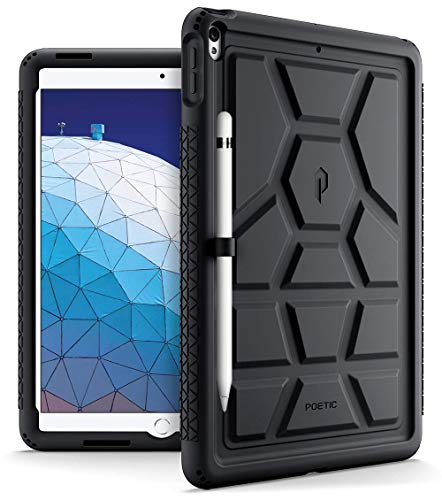 iPad Air 3 Case (10.5 Inch, 2019), iPad Pro 10.5 Case, Poetic Heavy Duty Shockproof Kids Friendly Silicone Case Cover with Apple Pencil Holder, Corner Protection, Sound-Amplification Feature Black