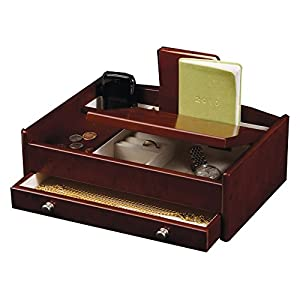 Mele & Co. Davin Men's Dresser Valet - Dark Burlwood Walnut - 11.75W x 4H in.