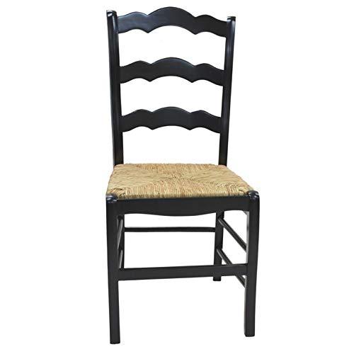Ladder Back Rush Seat Chair - Carolina Cottage Ladder Back Chair in Antique Black Finish