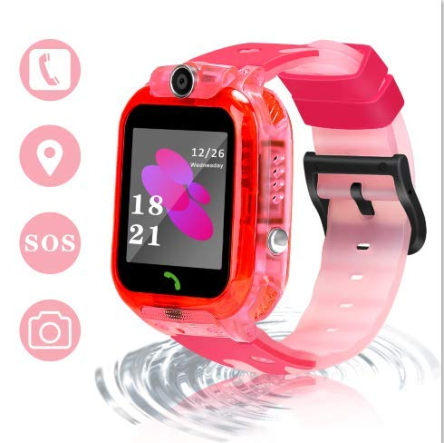 LJRYCQSSZSF 2019 Newest Kids Smart GPS Phone Watch Ip68 Waterproof Gizmo Game Smart Watch Boys Girls with 1.44 Inch HD Camera Micro Chat Clock Alarm Puzzle Game Education Toys Gift (Pink)