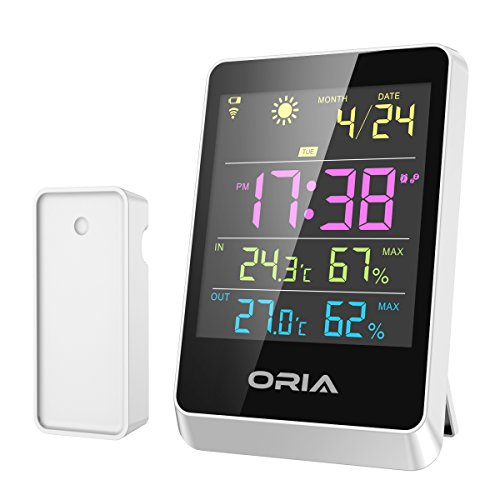 ORIA Weather Station, Wireless Forecast Station, Temperature and Humidity Thermometer, Color Display, Alarm Clock & Large LCD Screen, Time Date for Indoor and Outdoor