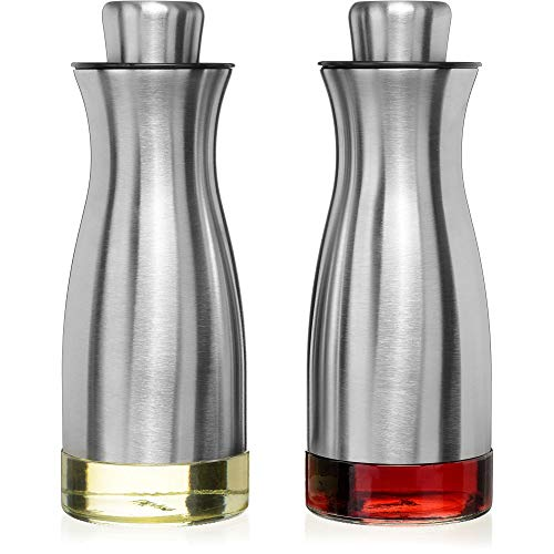 CHEFVANTAGE S02-P22-V1 Olive Oil and Vinegar Cruet Dispenser Set with Elegant Glass Bottle and Drip Free Design-Stainless Steel, P22 (Glass And Vinegar Set Oil)