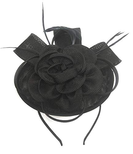 (Ahugehome Fascinator Sinamay Rose Flower Pillbox hat Hair Clip Cocktail Party Wedding (H Black))