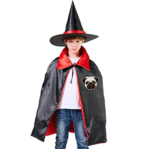Halloween Children Costume Cute Pugs Wizard Witch Cloak Cape Robe And Hat Set -