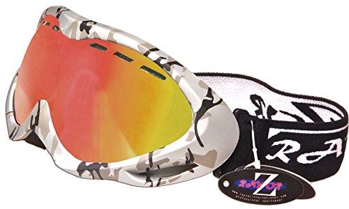 Rayzor Masque de ski anti UV400 à double verre avec revêtement anti-buée Cadre Argenté et couleur camouflage et verre réfléchissant Wide Vision Clarity Violet/doré iridescent