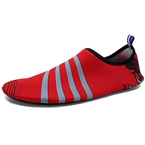 Volwassen Kinderen Sneldrogend Huid Watersport Aqua Schoenen Sokken Gaten Ventilatie Kpu Loopzool 3wijn Rood