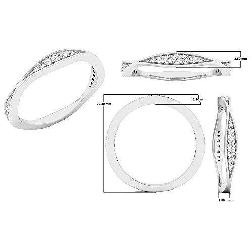 0.20 Carat (ctw) 14K White Gold Round Diamond Ladies Anniversary Wedding Band 1/5 CT (Size 8) by DazzlingRock Collection (Image #5)