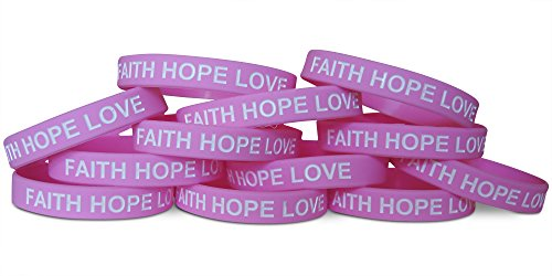 Novel Merk 12-Piece Pink White Text Faith Hope Love Kids Party Favor & School Carnival Prize Religious Silicone Wristband -
