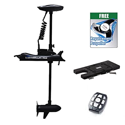"""Haswing Cayman 12v 55lbs Bow Mount Electric Trolling Motor Black 54"""" Shaft with Quick Release Brakcet"""