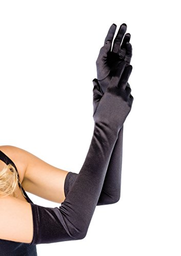 Leg A (Black Extra Long Satin Gloves)