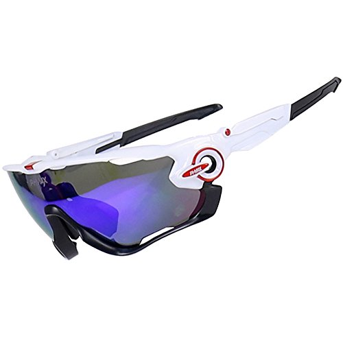 PHMAX Polarized Sports Sunglasses With 5 Interchangeable Lenses and Scratch Resistant for Men and Women Outdoor Running Cycling Fishing Driving Golfing Camping,UV 400 Protection (Phmax-007(5 - Golfing Glasses
